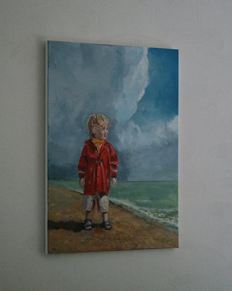 An original and contemporary portrait painting in acrylic of a boy aged two standing on Aldeburgh beach, wearing a waterproof  just after a storm by Tom Clay